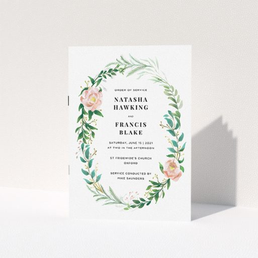 """A multipage wedding order of service design titled """"Classic Floral Order of Service"""". It is an A5 booklet in a portrait orientation. """"Classic Floral Order of Service"""" is available as a folded booklet booklet, with tones of white, light green and pink."""