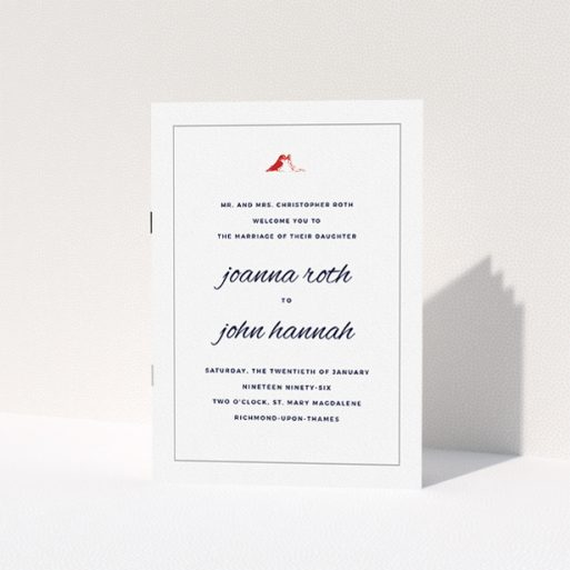 """A multipage wedding order of service called """"Lovebirds"""". It is an A5 booklet in a portrait orientation. """"Lovebirds"""" is available as a folded booklet booklet, with tones of white and red."""