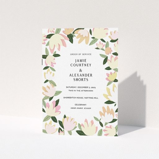 """A multipage wedding order of service called """"Modern Floral Scatter"""". It is an A5 booklet in a portrait orientation. """"Modern Floral Scatter"""" is available as a folded booklet booklet, with tones of cream, yellow and light green."""