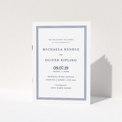 """A multipage wedding order of service design named """"Navy Blue Classic"""". It is an A5 booklet in a portrait orientation. """"Navy Blue Classic"""" is available as a folded booklet booklet, with tones of blue and white."""