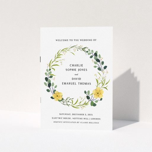 """A multipage wedding order of service design called """"Summer Wild Flowers"""". It is an A5 booklet in a portrait orientation. """"Summer Wild Flowers"""" is available as a folded booklet booklet, with tones of light green, dark green and yellow."""