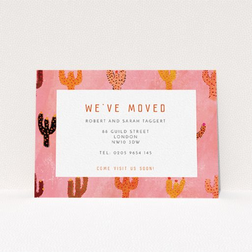 """A new address card called """"Albuquerque"""". It is an A6 card in a landscape orientation. """"Albuquerque"""" is available as a flat card, with tones of pink and orange."""