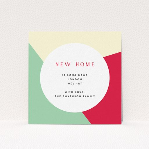 """A new address card named """"Colour Thirds"""". It is a square (148mm x 148mm) card in a square orientation. """"Colour Thirds"""" is available as a flat card, with mainly light cream colouring."""