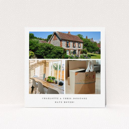 """A new address card design named """"New Home Snaps"""". It is a square (148mm x 148mm) card in a square orientation. It is a photographic new address card with room for 3 photos. """"New Home Snaps"""" is available as a flat card, with tones of white and black."""