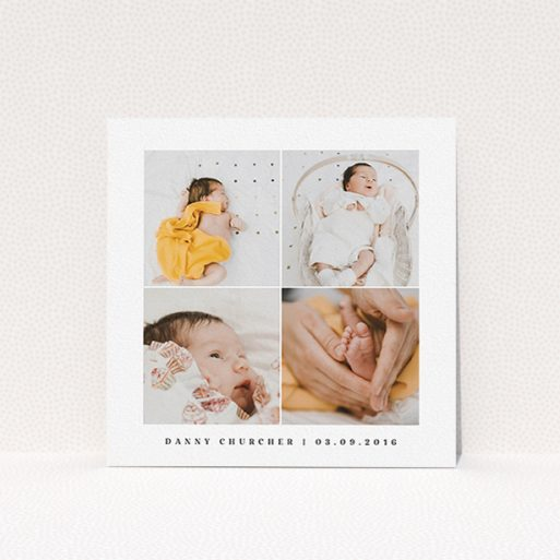 """A new baby announcement card template titled """"4 Frame"""". It is a square (148mm x 148mm) card in a square orientation. It is a photographic new baby announcement card with room for 3 photos. """"4 Frame"""" is available as a flat card, with tones of black and white."""