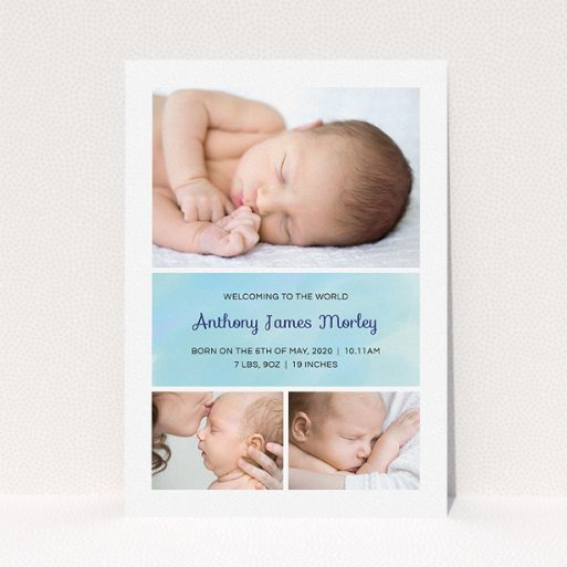 """A new baby announcement card template titled """"Block Tower"""". It is an A5 card in a portrait orientation. It is a photographic new baby announcement card with room for 3 photos. """"Block Tower"""" is available as a flat card, with tones of blue and white."""