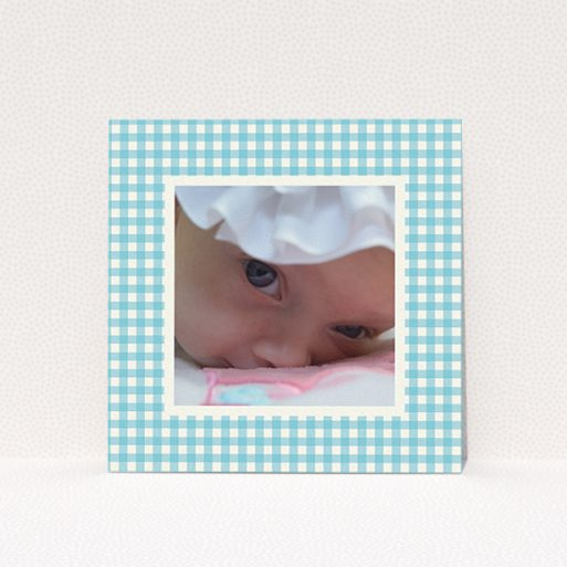 """A new baby announcement card named """"Blue Plaid"""". It is a square (148mm x 148mm) card in a square orientation. It is a photographic new baby announcement card with room for 1 photo. """"Blue Plaid"""" is available as a flat card, with tones of blue and white."""