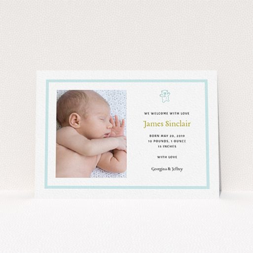 """A new baby announcement card called """"Blue Teddy"""". It is an A6 card in a landscape orientation. It is a photographic new baby announcement card with room for 1 photo. """"Blue Teddy"""" is available as a flat card, with tones of blue and white."""