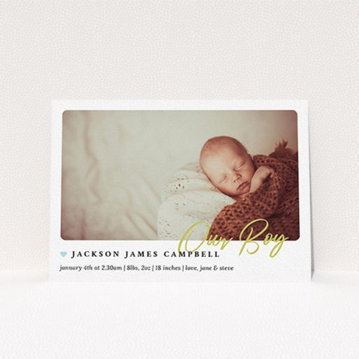 """A new baby announcement card template titled """"Gold Stamp"""". It is an A6 card in a landscape orientation. It is a photographic new baby announcement card with room for 1 photo. """"Gold Stamp"""" is available as a flat card, with tones of white and blue."""