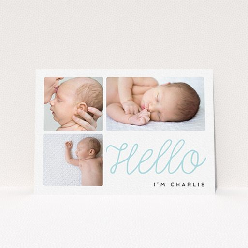 """A new baby announcement card template titled """"Hello Cursive"""". It is an A6 card in a landscape orientation. It is a photographic new baby announcement card with room for 3 photos. """"Hello Cursive"""" is available as a flat card, with tones of white and blue."""
