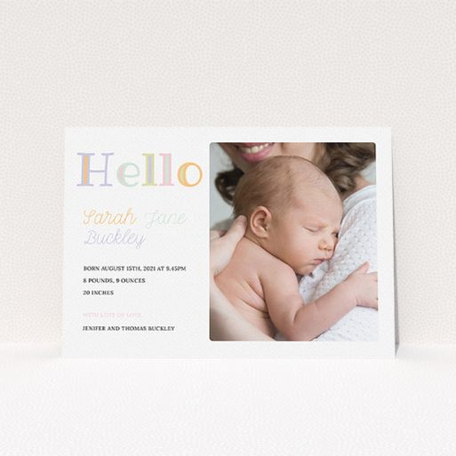 """A new baby announcement card design called """"Hello Pastels"""". It is an A5 card in a landscape orientation. It is a photographic new baby announcement card with room for 1 photo. """"Hello Pastels"""" is available as a flat card, with tones of white and green."""