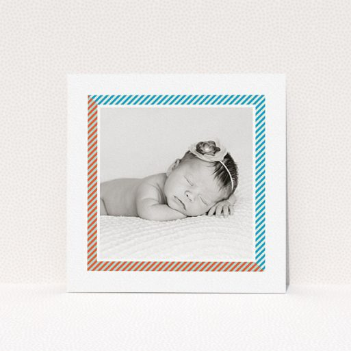 """A new baby announcement card template titled """"Kensington Square"""". It is a square (148mm x 148mm) card in a square orientation. It is a photographic new baby announcement card with room for 1 photo. """"Kensington Square"""" is available as a flat card, with tones of white, blue and red."""