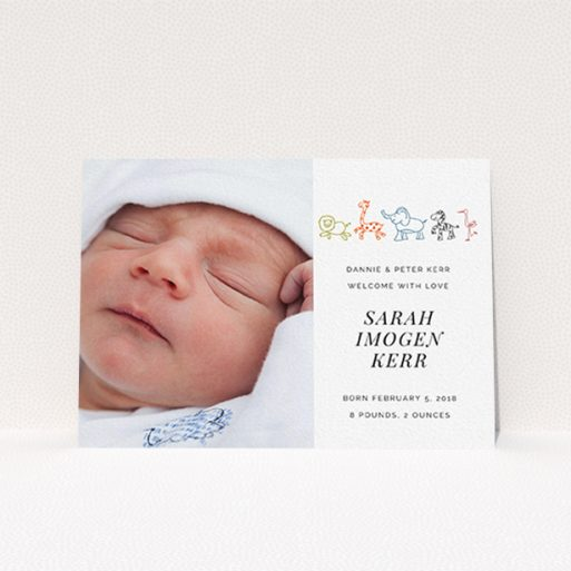 """A new baby announcement card design named """"Playground Safari"""". It is an A6 card in a landscape orientation. It is a photographic new baby announcement card with room for 1 photo. """"Playground Safari"""" is available as a flat card, with tones of white and orange."""