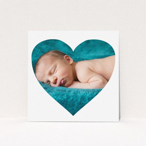 """A new baby announcement card design titled """"Simple Heart Frame"""". It is a square (148mm x 148mm) card in a square orientation. It is a photographic new baby announcement card with room for 1 photo. """"Simple Heart Frame"""" is available as a flat card, with mainly white colouring."""
