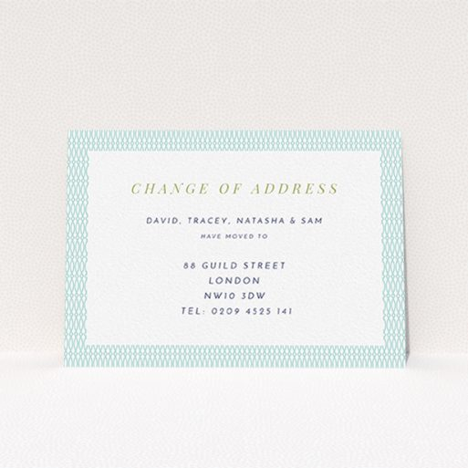 """A new home card called """"Fine Arabic Pastel"""". It is an A6 card in a landscape orientation. """"Fine Arabic Pastel"""" is available as a flat card, with tones of green and white."""