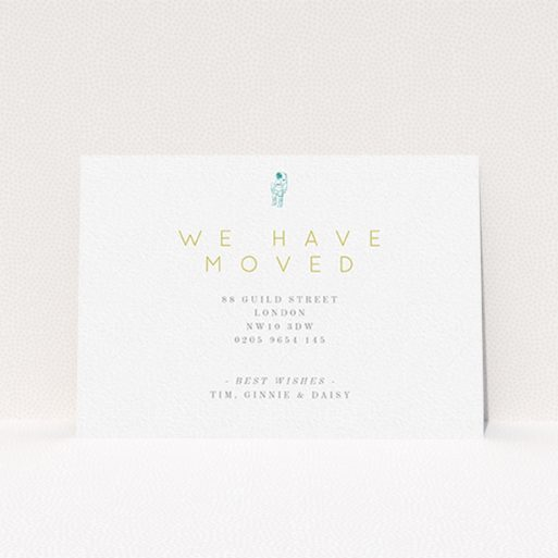"""A new home card design named """"One Small Step"""". It is an A6 card in a landscape orientation. """"One Small Step"""" is available as a flat card, with tones of white and green."""