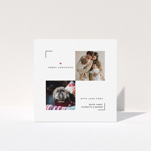 """A personalised christmas card design named """"Christmas Special"""". It is a square (148mm x 148mm) card in a square orientation. It is a photographic personalised christmas card with room for 2 photos. """"Christmas Special"""" is available as a folded card, with tones of white and red."""