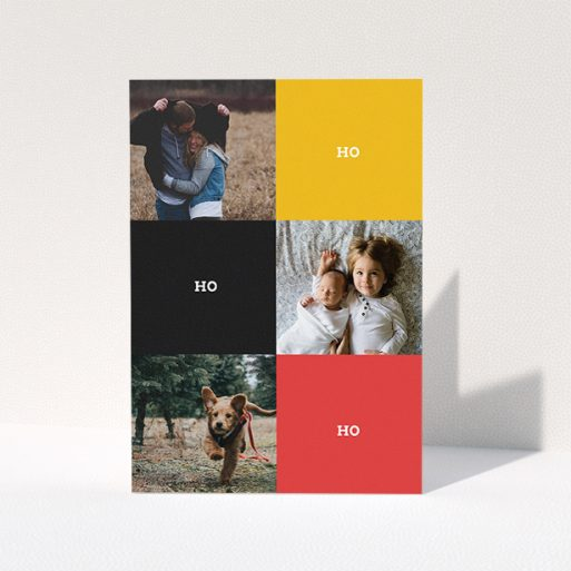 """A personalised christmas card template titled """"Contemporary Christmas"""". It is an A5 card in a portrait orientation. It is a photographic personalised christmas card with room for 3 photos. """"Contemporary Christmas"""" is available as a folded card, with tones of black, red and yellow."""