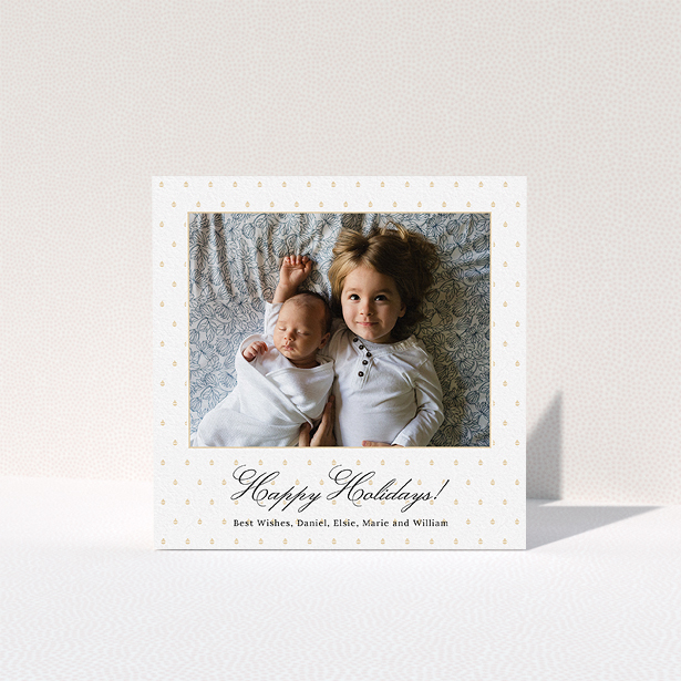 """A personalised christmas card called """"Elegant Gold Decoration"""". It is a square (148mm x 148mm) card in a square orientation. It is a photographic personalised christmas card with room for 1 photo. """"Elegant Gold Decoration"""" is available as a folded card, with mainly gold colouring."""