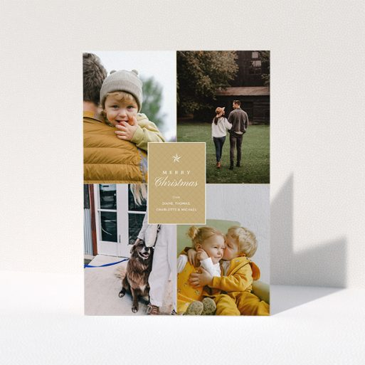 """A personalised christmas card design called """"Elegant Gold"""". It is an A5 card in a portrait orientation. It is a photographic personalised christmas card with room for 4 photos. """"Elegant Gold"""" is available as a folded card, with tones of gold and white."""