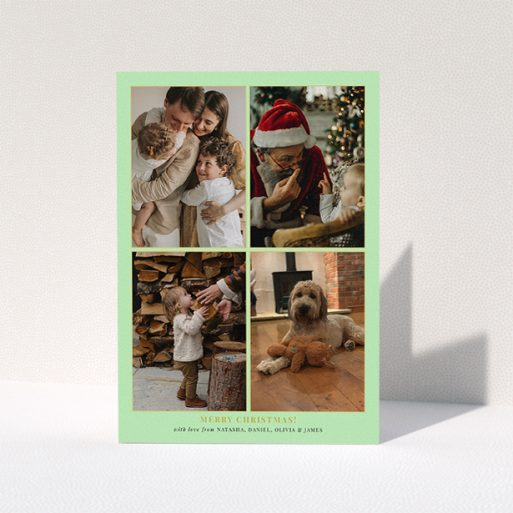 """A personalised christmas card design called """"Golden Green Christmas """". It is an A5 card in a portrait orientation. It is a photographic personalised christmas card with room for 4 photos. """"Golden Green Christmas """" is available as a folded card, with tones of green and gold."""