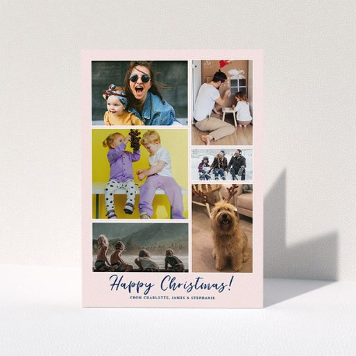 """A personalised christmas card template titled """"Round Up The Year"""". It is an A5 card in a portrait orientation. It is a photographic personalised christmas card with room for 6 photos. """"Round Up The Year"""" is available as a folded card, with mainly pink colouring."""