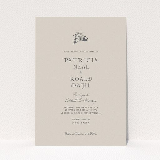 """A personalised wedding invitation template titled """"Acorn stamp"""". It is an A5 invite in a portrait orientation. """"Acorn stamp"""" is available as a flat invite, with mainly dark cream colouring."""