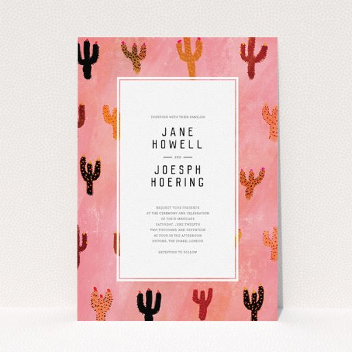 """A personalised wedding invitation design titled """"Albuquerque"""". It is an A5 invite in a portrait orientation. """"Albuquerque"""" is available as a flat invite, with tones of pink and orange."""