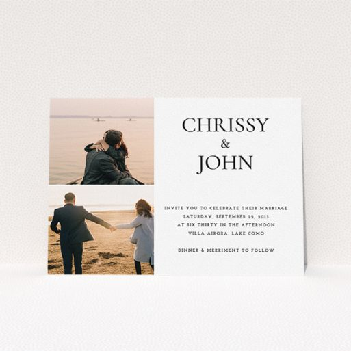 """A personalised wedding invitation design named """"Almost a quarter"""". It is an A5 invite in a landscape orientation. It is a photographic personalised wedding invitation with room for 2 photos. """"Almost a quarter"""" is available as a flat invite, with mainly white colouring."""