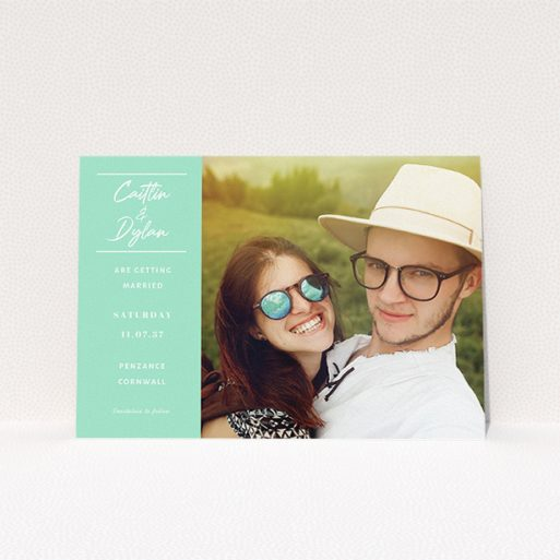 """A personalised wedding invitation design titled """"Bit on the side"""". It is an A5 invite in a landscape orientation. It is a photographic personalised wedding invitation with room for 1 photo. """"Bit on the side"""" is available as a flat invite, with tones of green and white."""