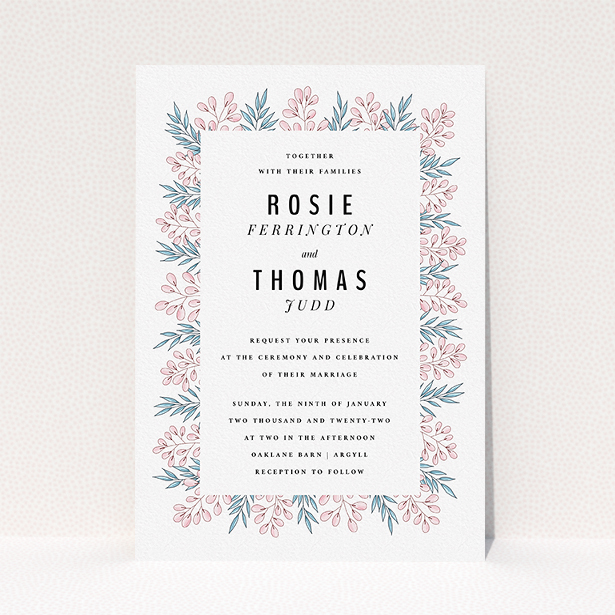 """A personalised wedding invitation named """"Blossom and Long Leaves"""". It is an A5 invite in a portrait orientation. """"Blossom and Long Leaves"""" is available as a flat invite, with tones of blue and pink."""