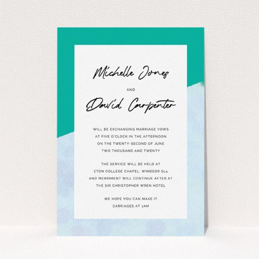 """A personalised wedding invitation called """"Blue Edge"""". It is an A5 invite in a portrait orientation. """"Blue Edge"""" is available as a flat invite, with tones of blue and green."""