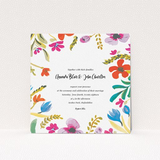"""A personalised wedding invitation called """"Botanical Pop"""". It is a square (148mm x 148mm) invite in a square orientation. """"Botanical Pop"""" is available as a flat invite, with tones of white and red."""