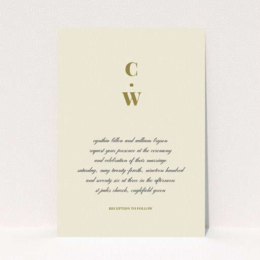 """A personalised wedding invitation design called """"Bullet point"""". It is an A5 invite in a portrait orientation. """"Bullet point"""" is available as a flat invite, with tones of cream and gold."""