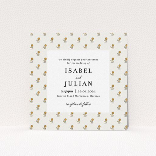 """A personalised wedding invitation design named """"Camels"""". It is a square (148mm x 148mm) invite in a square orientation. """"Camels"""" is available as a flat invite, with tones of cream, orange and pale brown."""