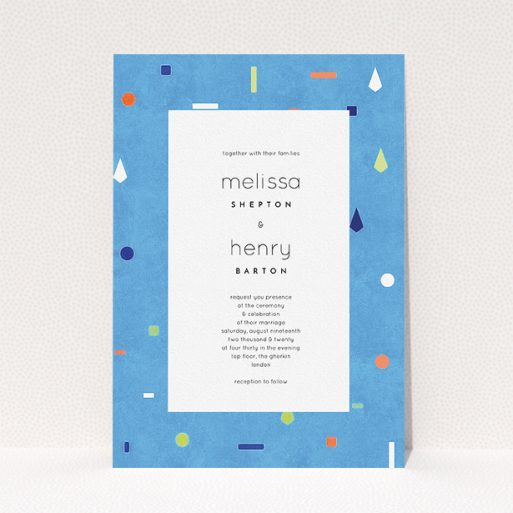 """A personalised wedding invitation design called """"Capri"""". It is an A5 invite in a portrait orientation. """"Capri"""" is available as a flat invite, with tones of light blue and orange."""