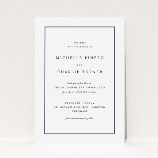 """A personalised wedding invitation design called """"Classic Frame"""". It is an A5 invite in a portrait orientation. """"Classic Frame"""" is available as a flat invite, with mainly white colouring."""