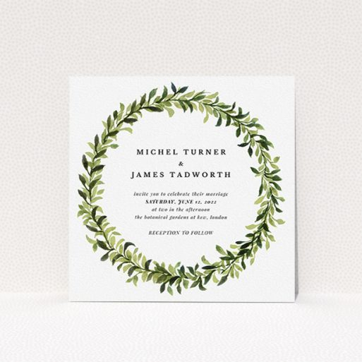 """A personalised wedding invitation called """"Classic Green Wreath"""". It is a square (148mm x 148mm) invite in a square orientation. """"Classic Green Wreath"""" is available as a flat invite, with tones of light green and dark green."""