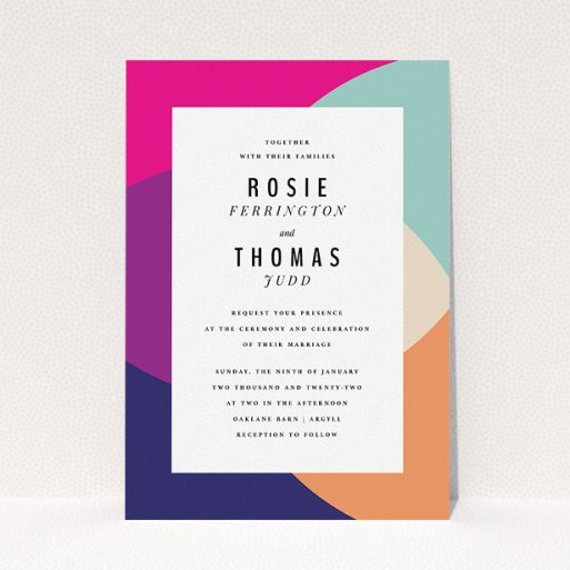 """A personalised wedding invitation design titled """"Concentric"""". It is an A5 invite in a portrait orientation. """"Concentric"""" is available as a flat invite, with tones of white and pink."""