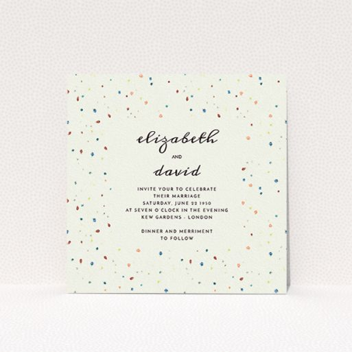 """A personalised wedding invitation called """"Crayon splinters"""". It is a square (148mm x 148mm) invite in a square orientation. """"Crayon splinters"""" is available as a flat invite, with tones of pale cream and orange."""