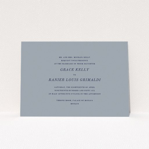 """A personalised wedding invitation design named """"Dark and Stormy"""". It is an A5 invite in a landscape orientation. """"Dark and Stormy"""" is available as a flat invite, with tones of dark grey and navy blue."""