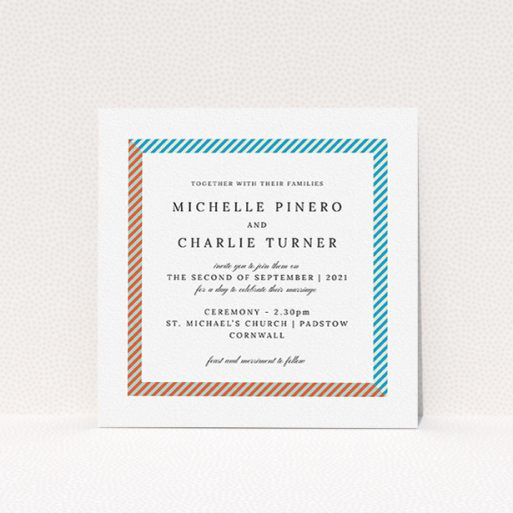 """A personalised wedding invitation called """"Diagonal Frame"""". It is a square (148mm x 148mm) invite in a square orientation. """"Diagonal Frame"""" is available as a flat invite, with tones of white and light blue."""