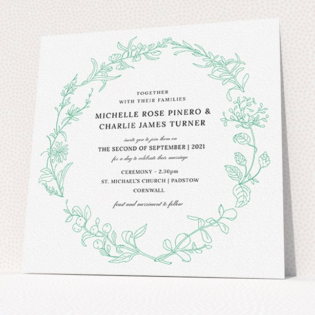 """A personalised wedding invitation named """"Drawn Botanics"""". It is a square (148mm x 148mm) invite in a square orientation. """"Drawn Botanics"""" is available as a flat invite, with tones of green and white."""