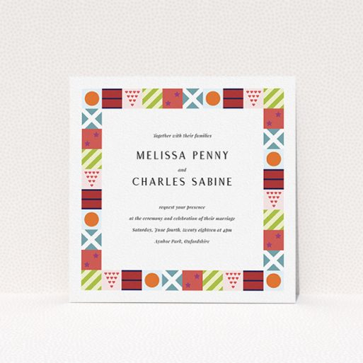 """A personalised wedding invitation template titled """"Epsom"""". It is a square (148mm x 148mm) invite in a square orientation. """"Epsom"""" is available as a flat invite, with tones of red, orange and light blue."""