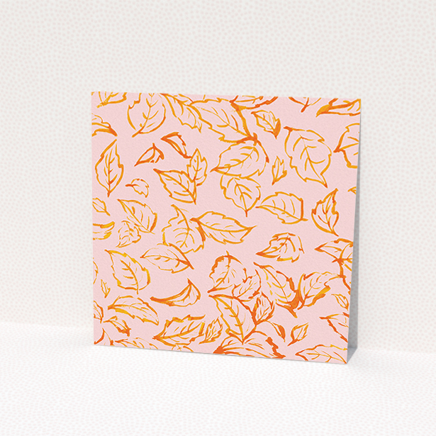 """A personalised wedding invitation named """"Falling Foliage"""". It is a square (148mm x 148mm) invite in a square orientation. """"Falling Foliage"""" is available as a flat invite, with tones of pink and orange."""