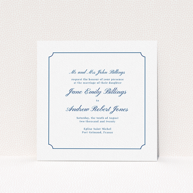 """A personalised wedding invitation template titled """"Framed Classic"""". It is a square (148mm x 148mm) invite in a square orientation. """"Framed Classic"""" is available as a flat invite, with tones of white and blue."""
