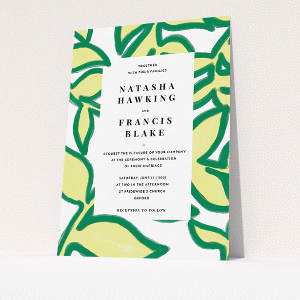 """A personalised wedding invitation called """"Fresh Vines"""". It is an A5 invite in a portrait orientation. """"Fresh Vines"""" is available as a flat invite, with tones of green and white."""