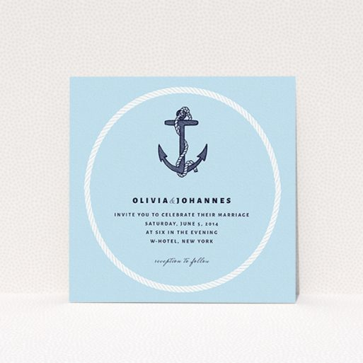 """A personalised wedding invitation template titled """"Full knot"""". It is a square (148mm x 148mm) invite in a square orientation. """"Full knot"""" is available as a flat invite, with tones of light blue and navy blue."""