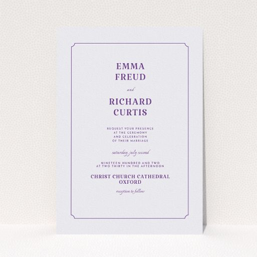 """A personalised wedding invitation named """"Harrison notch"""". It is an A5 invite in a portrait orientation. """"Harrison notch"""" is available as a flat invite, with mainly white colouring."""