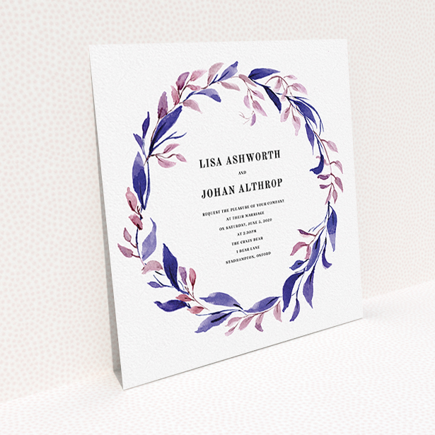 """A personalised wedding invitation template titled """"Hues of Blue"""". It is a square (148mm x 148mm) invite in a square orientation. """"Hues of Blue"""" is available as a flat invite, with tones of dark pink and purple."""